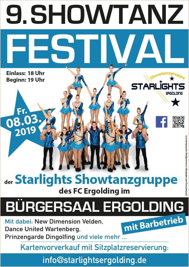 Starlights Ergolding Showtanzfestival 2019 Handzettel neu